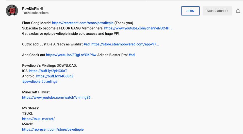 Youtube affiliate links