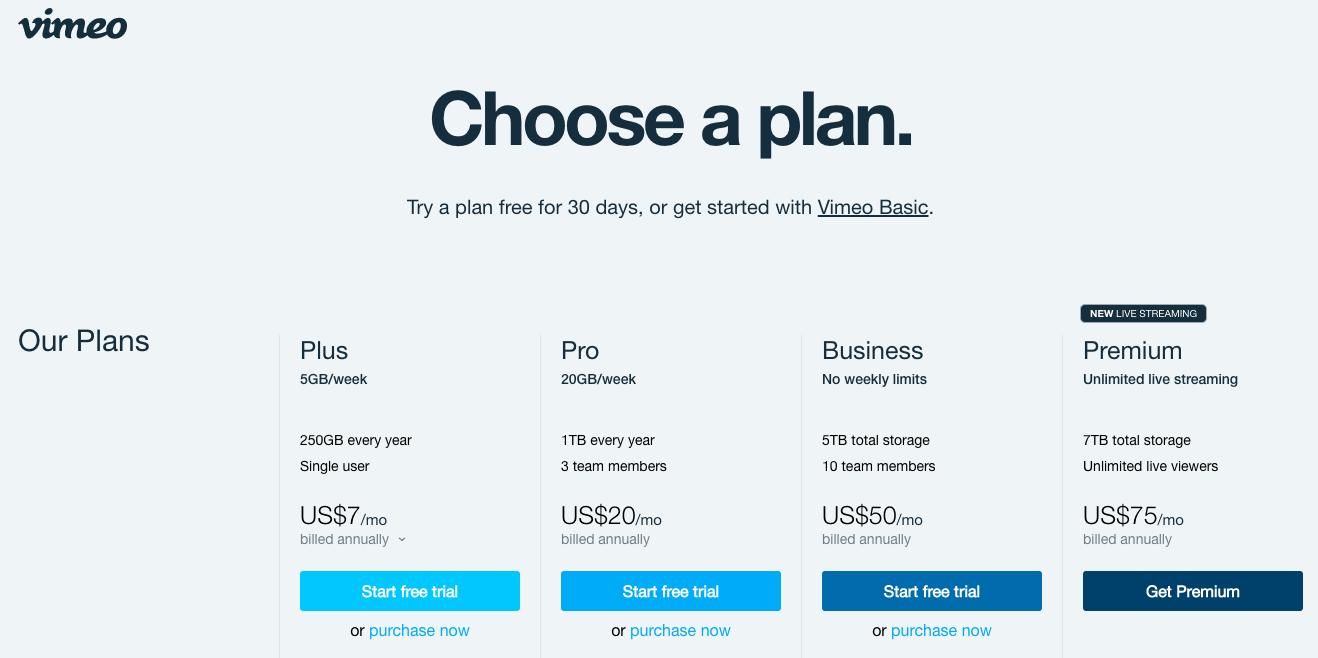 Vimeo plans